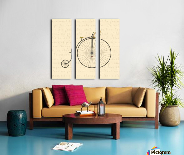 Vintage Penny Farthing Bunny Split Canvas print