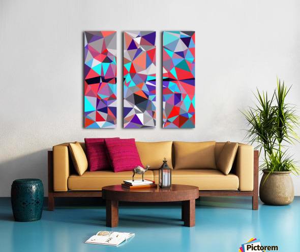 geometric triangle polygon pattern abstract background in red blue purple Split Canvas print