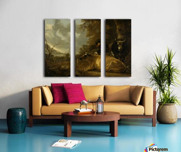 Landschap met koeien en herdersjongen Split Canvas print