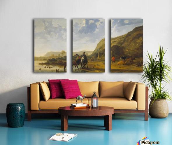 Rivierlandschap met ruiters Split Canvas print