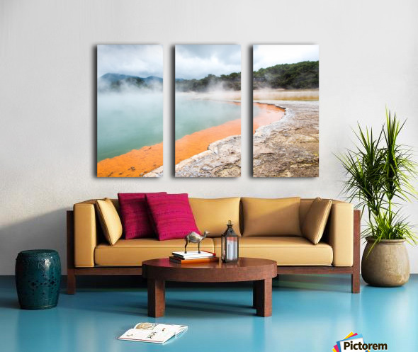 Rotorua Hot pool with steam New Zealand Split Canvas print