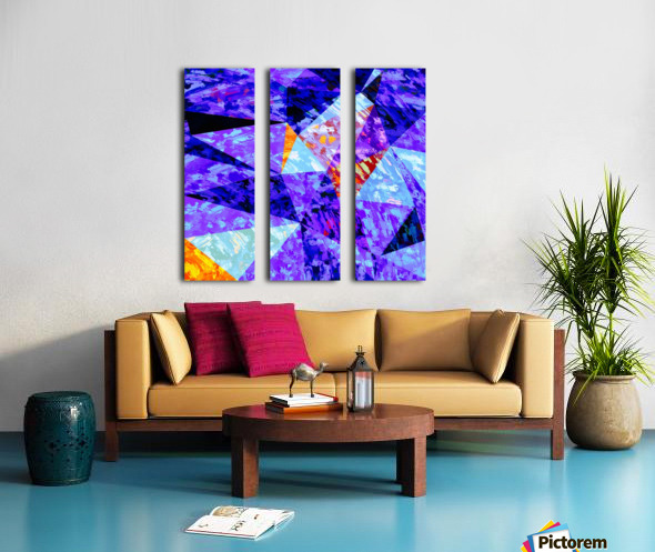 vintage psychedelic geometric triangle polygon pattern abstract in purple blue orange Split Canvas print