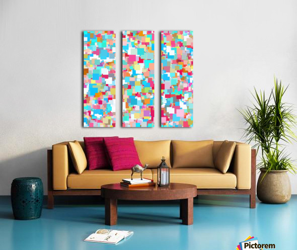 geometric square pixel pattern abstract background in blue pink orange green Split Canvas print
