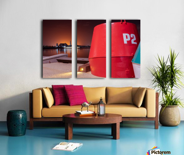 Orange lights with Geelong Pier and Buoys Split Canvas print