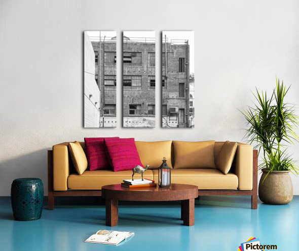 B&W Brick & Windows In Alley - DTLA  Split Canvas print
