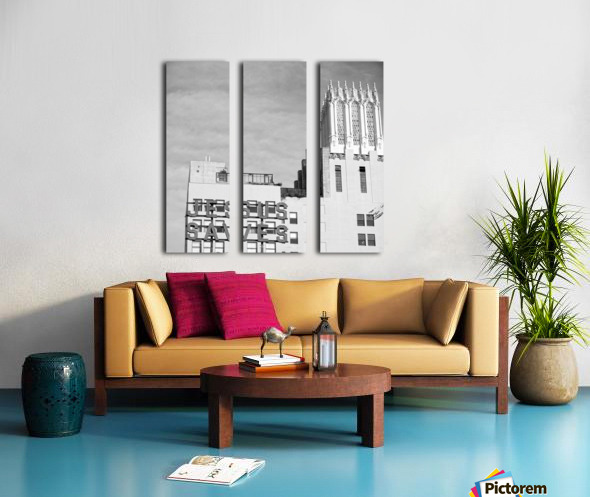 B&W Jesus Saves Building - DTLA Split Canvas print