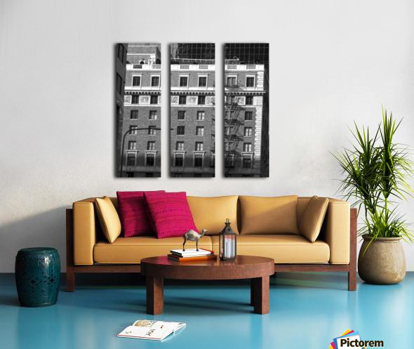 B&W Building Corner Figueroa and 6th Street Split Canvas print