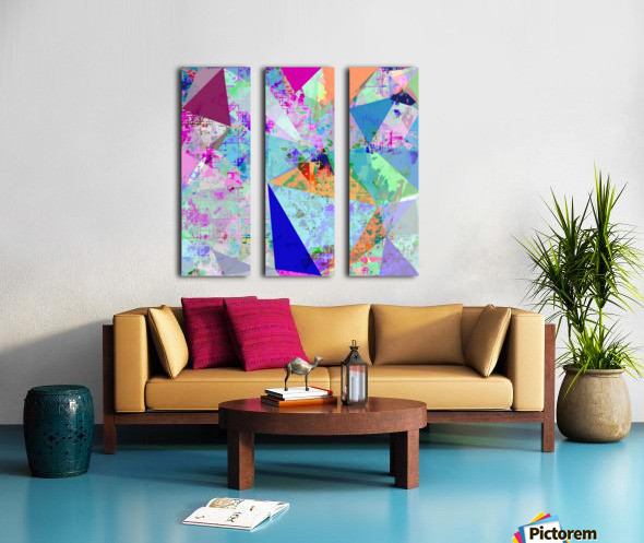 vintage psychedelic triangle polygon pattern abstract in blue pink green yellow Split Canvas print