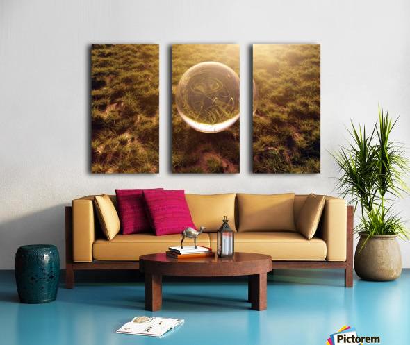 crystal ball on green grass in the morning sunshine light Split Canvas print