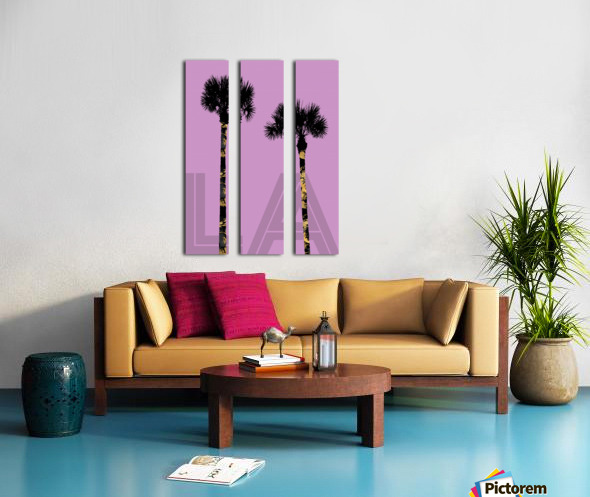 Graphic Art PALM TREES LA | pink Split Canvas print