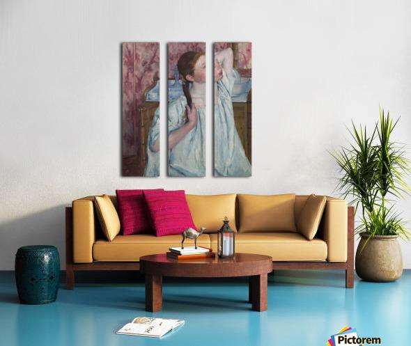Girl Arranging Her Hair Split Canvas print