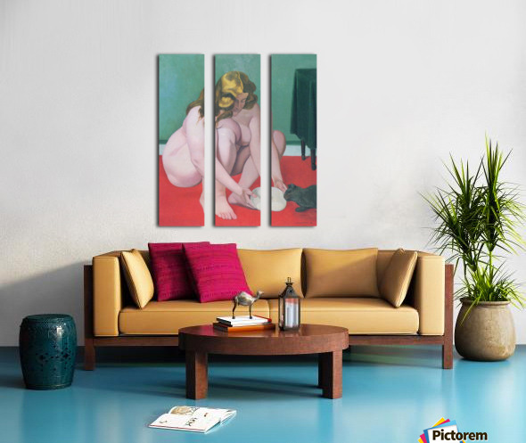 Woman with cat by Felix Vallotton Split Canvas print