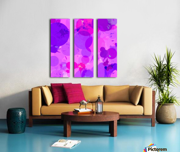 geometric circle and triangle pattern abstract in pink purple Split Canvas print