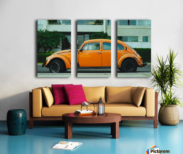 Parked Yellow Coccinelle Split Canvas print
