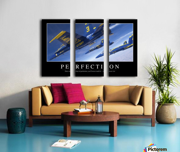 Perfection: Inspirational Quote and Motivational Poster Split Canvas print