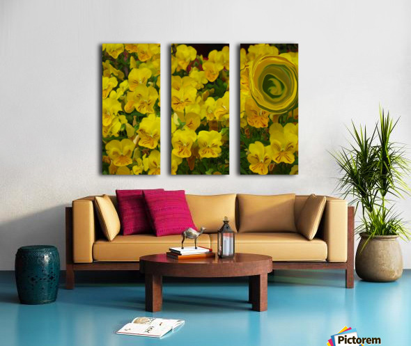 Yellow Abstract Floral Art Split Canvas print