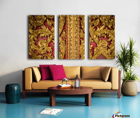 Golden wood carvings Split Canvas print