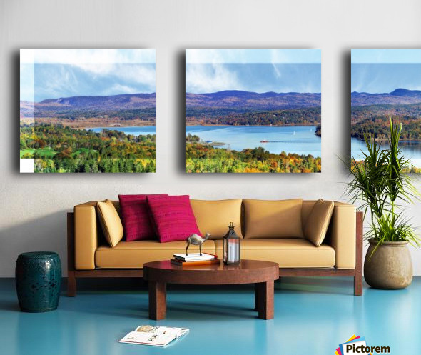 Grand Bay-Westfield New Brunswick in Autumn 48 by 12 Split Canvas print