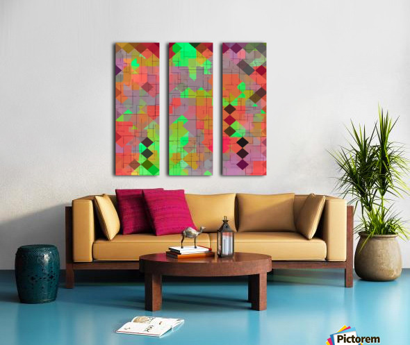 geometric square pixel pattern abstract in green orange red Split Canvas print