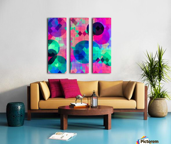 geometric square pixel and circle pattern abstract in pink blue green Split Canvas print