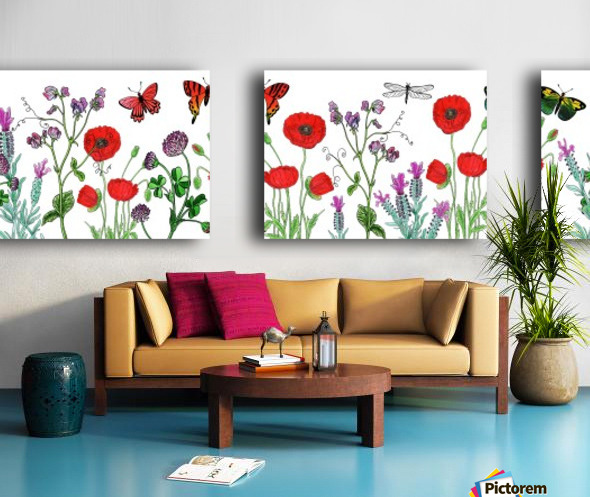 Wildflowers Field With Red Poppies Clover Lavender And Butterflies Split Canvas print