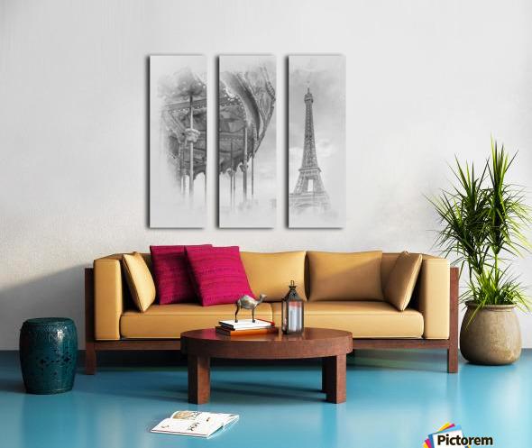 Typical Paris   monochrome watercolor Split Canvas print
