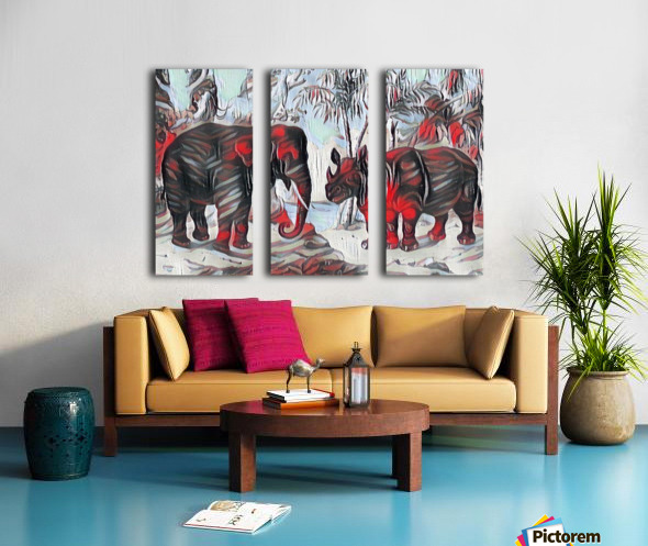Elephant And Rhinoceros_On A Cold Rain_OSG Split Canvas print