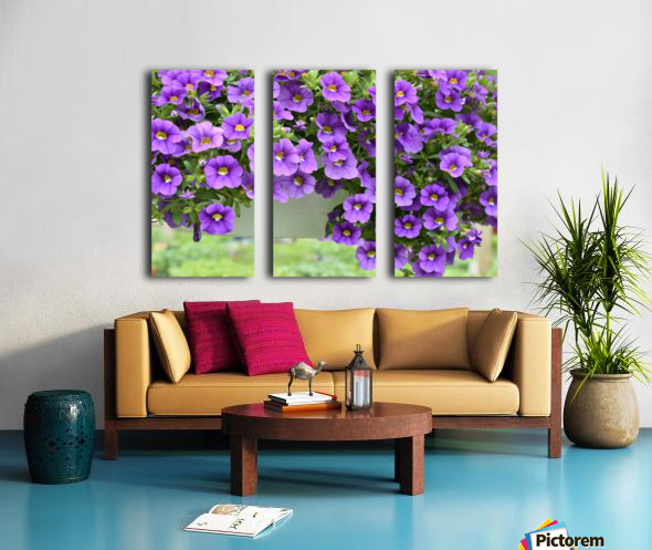 Beautiful Purple Flowers Photograph Split Canvas print