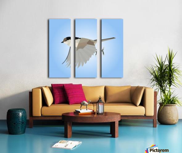 WILLOW TIT BIRD LOW POLY ART Split Canvas print