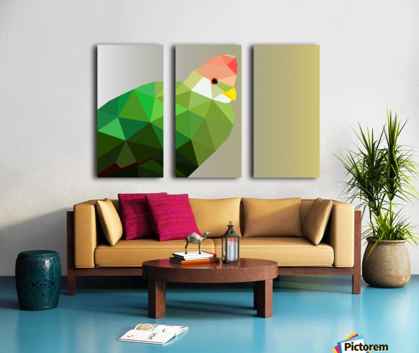 RED CRESTED TURACO LOW POLY ART Split Canvas print