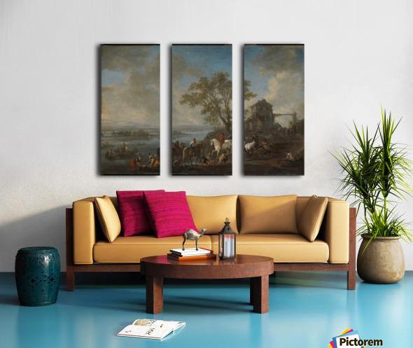 Paardenwed bij een rivier Split Canvas print