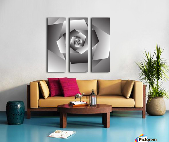 Monochrome Rose Art Split Canvas print
