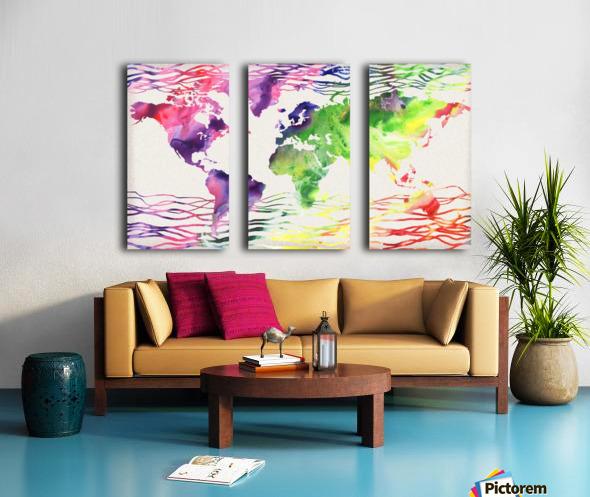 Colorful Wave Of Watercolour World Map Split Canvas print
