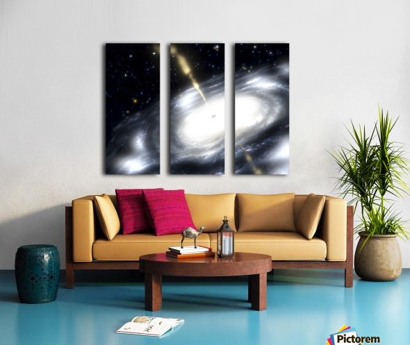 A rare galaxy that is extremely dusty and produces radio jets Split Canvas print