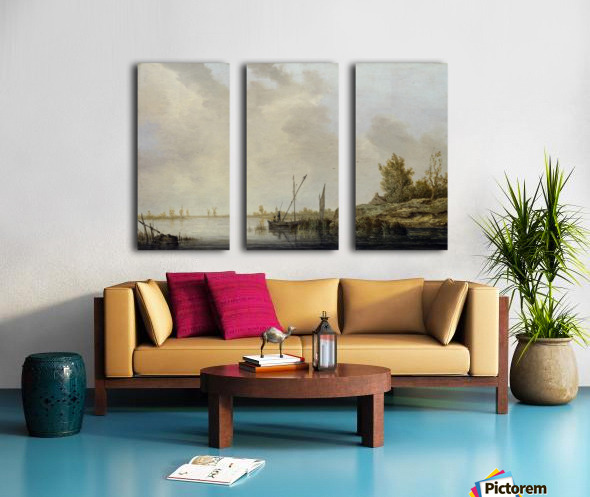 A River Scene with Distant Windmills Split Canvas print