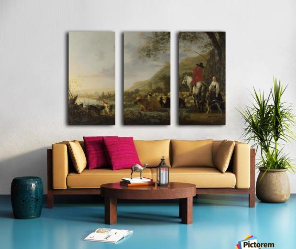 A Hilly Landscape with Figures Split Canvas print