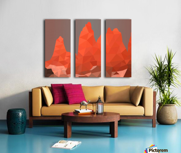 Torres del Paine National Park Low Poly Art  Split Canvas print