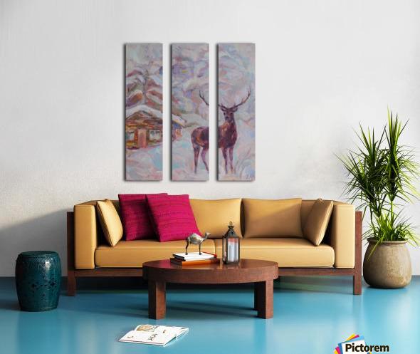 Deer and Hut Split Canvas print