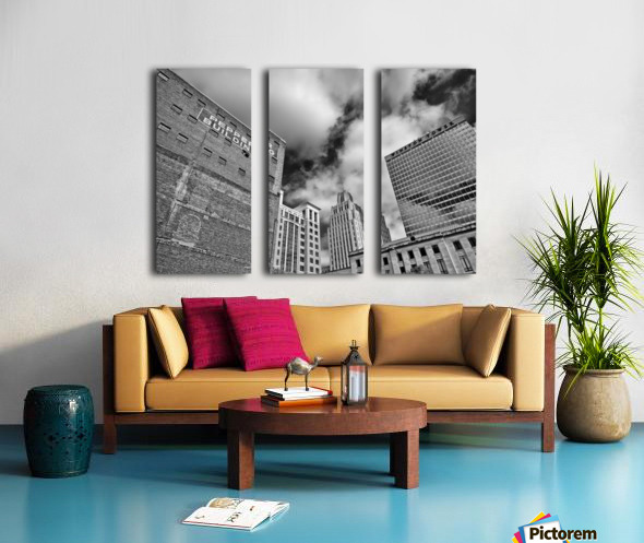 Winston Salem Builldings BW Split Canvas print