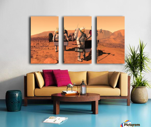 Artists concept of astronauts setting up weather monitoring equipment on Mars. Split Canvas print