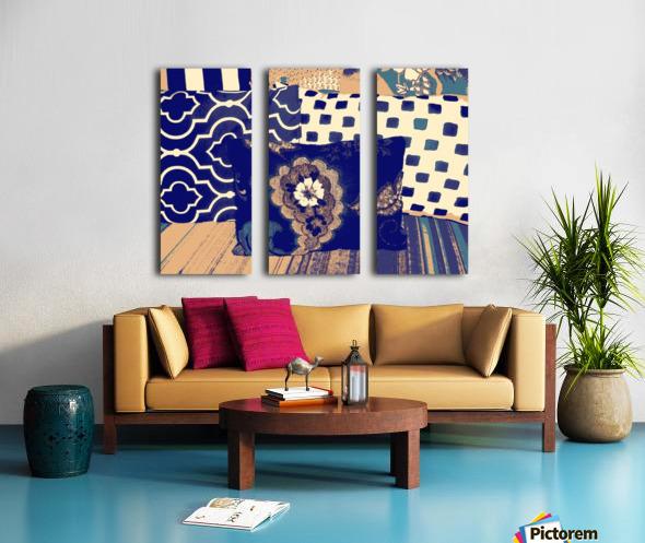 Three Pillows -- blue & brown Split Canvas print