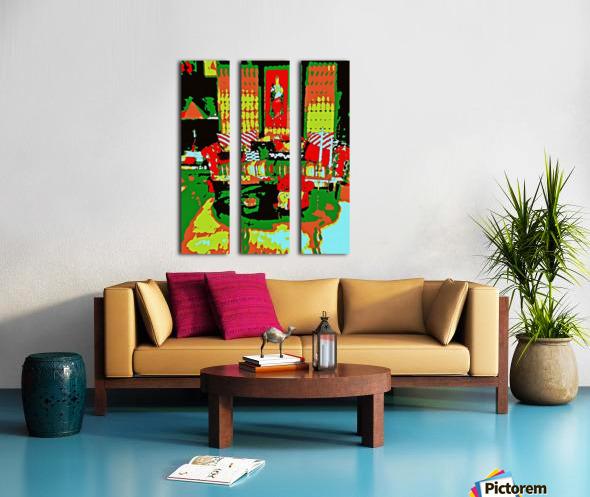 The Striped Sofa -- Red & Green Split Canvas print