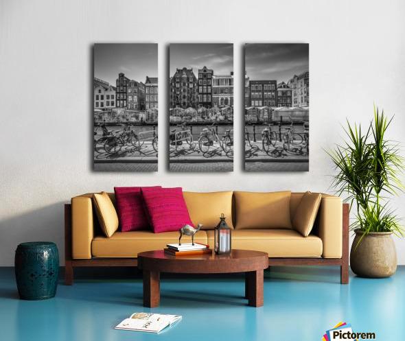AMSTERDAM Singel Canal with Flower Market | monochrome Split Canvas print