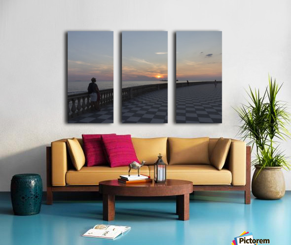 Sunset in Livorno - Piazza Mascagni Split Canvas print