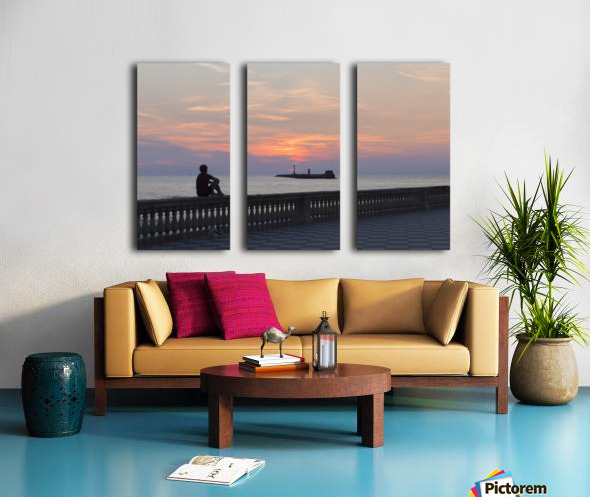 Sunset in Livorno - Piazza Mascagni Split Canvas print