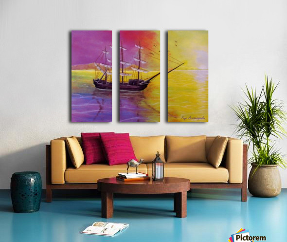 Sunset Sail Split Canvas print