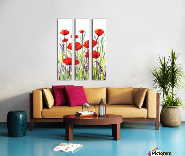 Red Poppies And Lavender Field Watercolor Split Canvas print