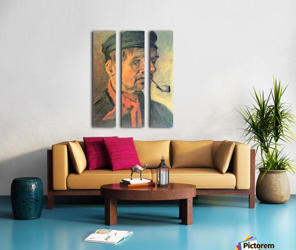 Head of a farmer with a clay pipe by Van Gogh Split Canvas print