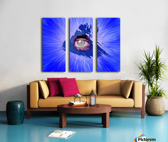 Eye behind wall crack Split Canvas print