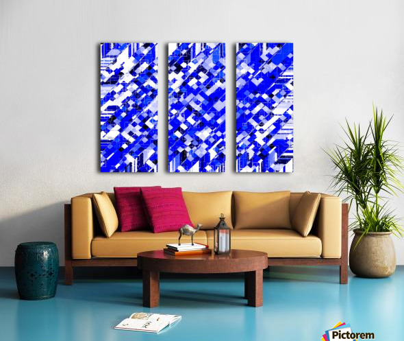 geometric square pixel pattern abstract background in blue Split Canvas print